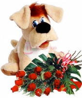 15 роз и собака