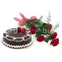 Торт и 5 роз